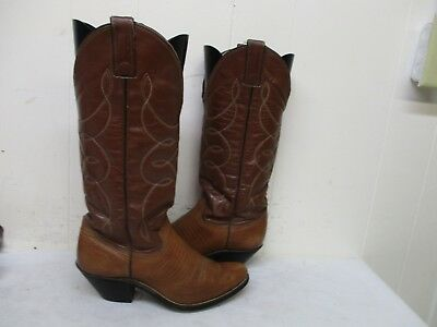 2eae5f89de0 BROWN LIZARD PRINT Leather Tall Cowboy Boots Womens Size 7.5 B ...