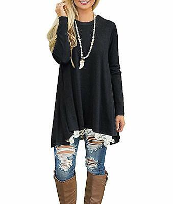 Rdfmy Women's Lace Long Sleeve Tops Casual Round Neck Top Blouses