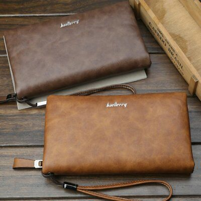 Business Style Men Clutch Bag Large Capacity Zipper Long Wallet Clutch Bag LI