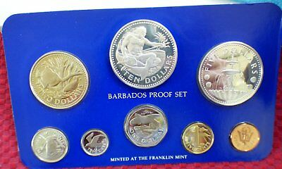 BARBADOS 1980 PROOF SILVER proof set  - 8 COIN NEPTUNE TRIDENT