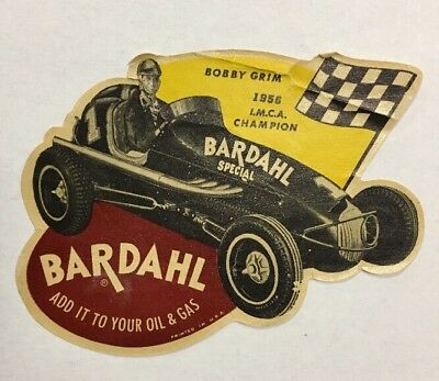 Vintage BARDAHL OIL Racing Sticker Decal BOBBY GRIM 1956 I.M.C.A. Champion Rare