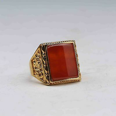 Chinese Exquisite Gilt Brass Inlaid Red Zricon Handwork National Fashion Ring