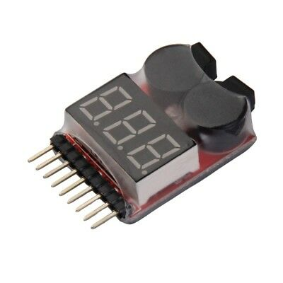 New 1-8S Lipo/Li-ion/Fe Battery Voltage 2IN1 Tester Low Voltage Buzzer Alarm