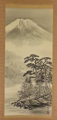 """JAPANESE HANGING SCROLL ART Painting Scenery """"Mt. Fuji"""" Asian antique  #E3839"""