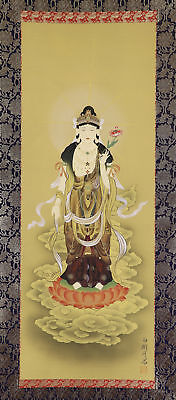 """JAPANESE HANGING SCROLL ART Painting """"Kannon"""" Buddhism Asian antique  #E3847"""