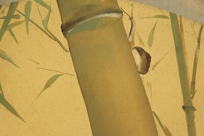 """JAPANESE HANGING SCROLL ART Painting """"Snail"""" Asian antique  #E3859"""