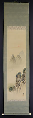 """JAPANESE HANGING SCROLL ART Painting """"Mt. Horai"""" Asian antique  #E3850"""