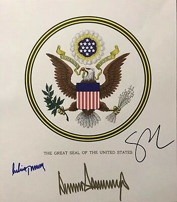President Donald Trump Signed Mike Pence Signed Melania Trump Signed Engraving