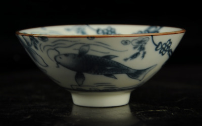 Chinese antique hand-made Blue and White porcelain fish pattern bowl a02
