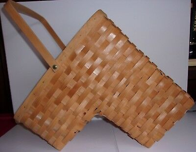 Stair Step Wood Wicker Woven Basket With Handle