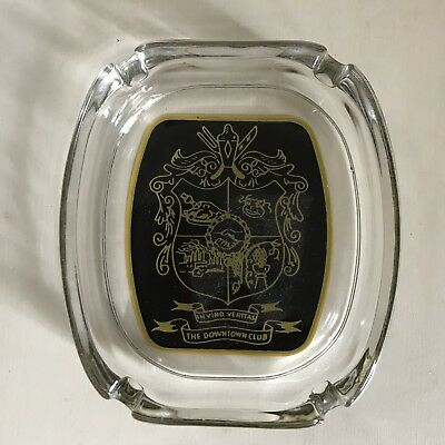 Vintage Advertising Glass Ashtray / The Downtown Club
