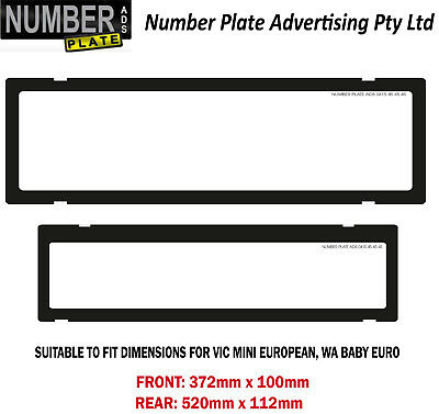 Number Plate Cover VIC / WA - Mini / Baby Euro Clip On - No Lines