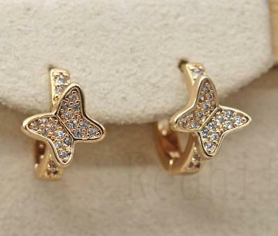 18K Gold Filled - White Topaz Butterfly Wing Gems Pageant Women Hoop Earrings