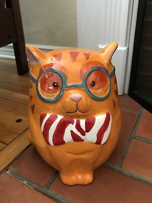 New Orange Tabby Cat Wearing Glasses and Bow Tie Ceramic Piggy Bank