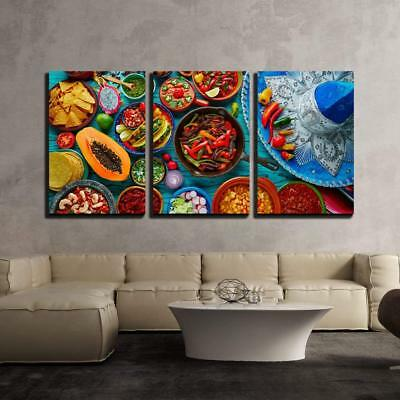 """Wall26 - Mexican Food Mix Background - Canvas Art Wall Decor - 16""""x24""""x3 Panels"""