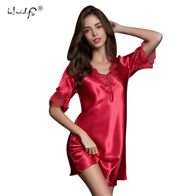 Summer Women Ladies Silk Satin Nightdress Nightgowns Robes Pyjamas Sleepwear Pj