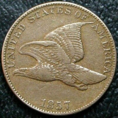 1857 Flying Eagle Cent VF/XF Nice Original Coin ~ No Problems