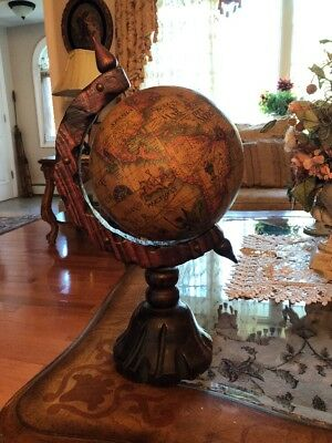 Vintage Old World Globe In Latin With Hand Carved Frame