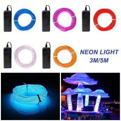 5M/3M Battery Operated Luminescent Neon LED Strip Lights Glow EL Wire For Party