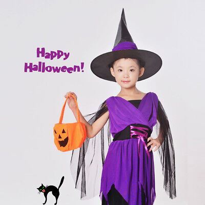 Halloween Kids Girls Witch Costumes Cosplay Show Outfit Party Prom Fancy Dresses