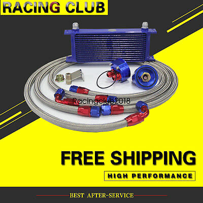 AN10 Engine Oil Cooler+ 3/4*16 & M20 Filter Relocation Adapter Kit 15 Row Blue