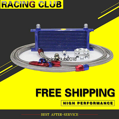 AN10 Transmission Engine Oil Cooler +Filter Plate Adapter Kit 15 Rows Blue