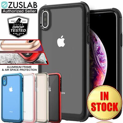 iPhone XS Max XR Case ZUSLAB Iron Shield with Aluminum Metal Frame for Apple