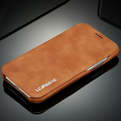 COVER Per Iphone 6S 7 8 Plus XR XS MAX FLIP Custodia Leather Stand Card in Pelle