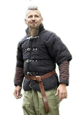 Medieval Gambeson Padded Armour Tunic Tabard Coat Black Color Short Sleeves.