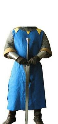 FANTASTMEDIEVAL KNIGHT Crusader Middle Ages COTTON WITHOUT SLEEVELESS TUNIC Blue
