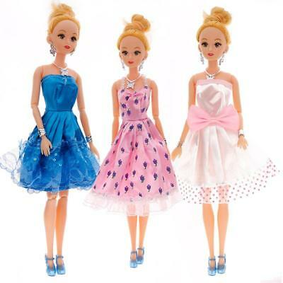 Trendy Barbie Doll Handmade Dress Wedding Party Mini Gown Fashion Clothes AUBC