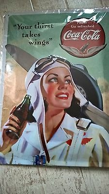 Coca-Cola Blechschild  30x40cm -Nostalgic Art - Takes Wings Lady - Fifties-KULT