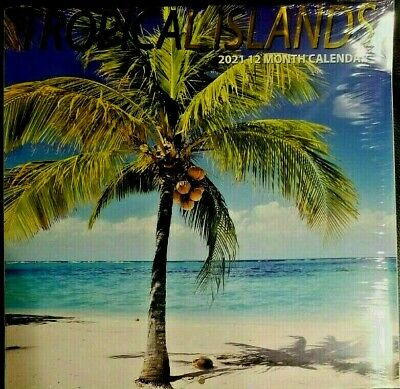 """2019 Tropical Islands 12 Month Wall Calendar 12"""" X 24"""" New Sealed"""