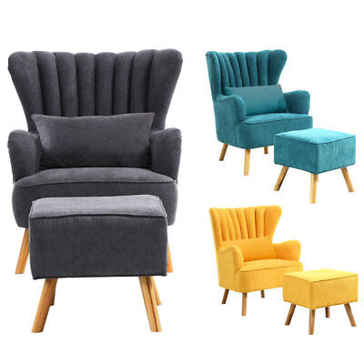 Wing Back Occasional Lounge Chair Armchair Fabric Living Room Fireside+Footstool