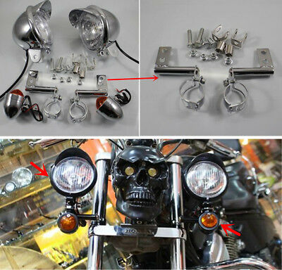 Chrome Motorcycle Driving Spot Fog Turn Signal Light + Bracket For Harley Custom