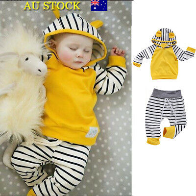 2pcs Baby Girls Boys Long Sleeve Hoodies Pants Trousers Toddler Outfits Clohtes