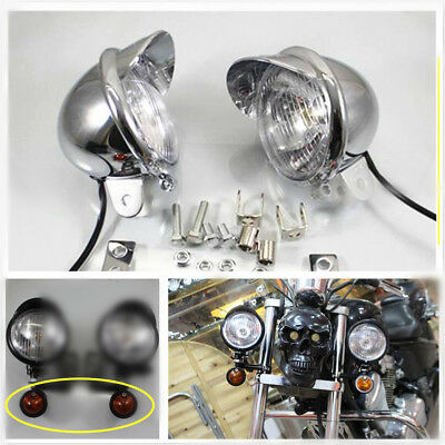 2X Chrome Motorcycle Passing Driving Spot Fog Lamp Turn Signal Light