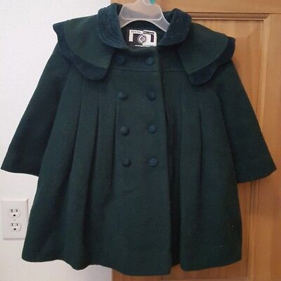 Vintage Young Gallery Girls Size 2T Green Wool Winter Coat W/ Detachable Cape