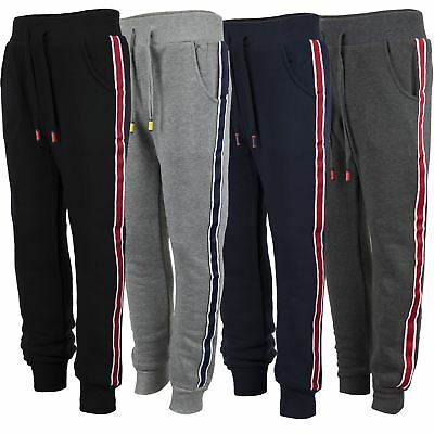 Kids Plain Tracksuit Bottoms Girls Trousers Boys Contrast Stripes Joggers 3-14 Y