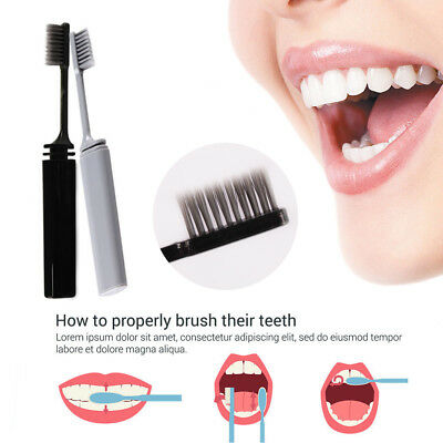 Foldable Bamboo Charcoal Toothbrush Travel Compact Toothbrush Home&Living New