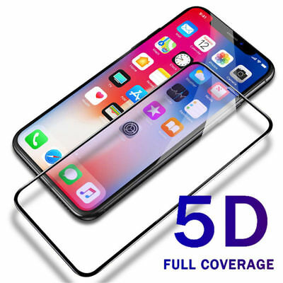 "For iPhone X XS MAX 6.5"" XR Full Coverage 5D 9H Tempered Glass Screen Protector"