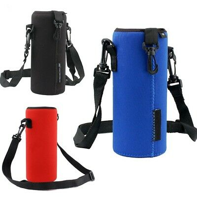 Multicolor Water Bottle Insulated Cover Holder Carrier Bag Shoulder Strap Case