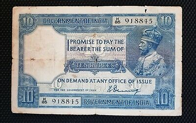 British India 10 Rupees, KG V , 1925 Sign Denning, Pick# 7a