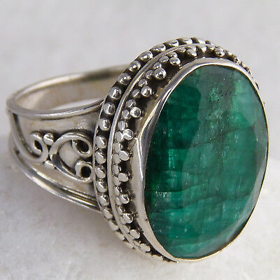 Collared Granulation Ring Sz US 6.75 SILVERSARI Solid 925 Silver INDIAN EMERALD