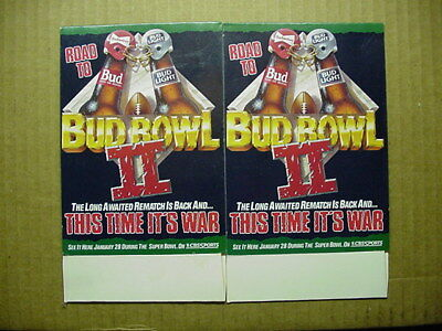 Vintage Pair of 1989 Bud Bowl II CBS Sports Bud Light Beer Ad Never Displayed 7""