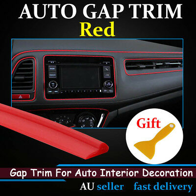 PVC Red Gap Trim Moulding Strips Car Dashboard Interior Door Decorative Line 6Ms