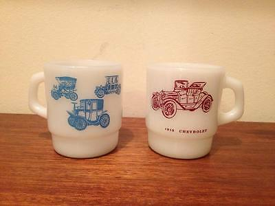 "Vintage Pair of Fire King/Anchor Hocking ""Antique Car"" Mugs"