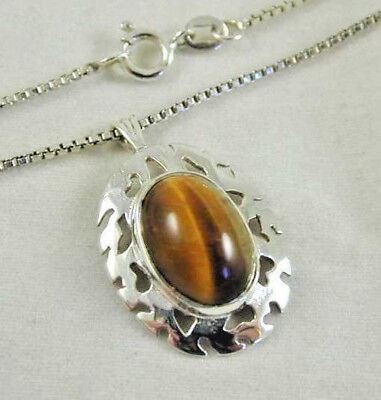 "STERLING SILVER TIGER'S EYE PENDANT ON 16"" BOX LINK CHAIN ue"