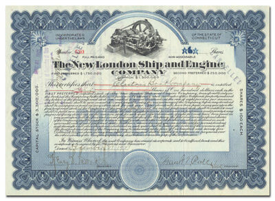 New London Ship & Engine Company Stock Certificate (Connecticut, Electric Boat)
