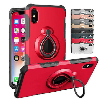 For iPhone Xs Max XR Hybrid Shockproof Rugged Gel Bumper Ring Stand Case Cover